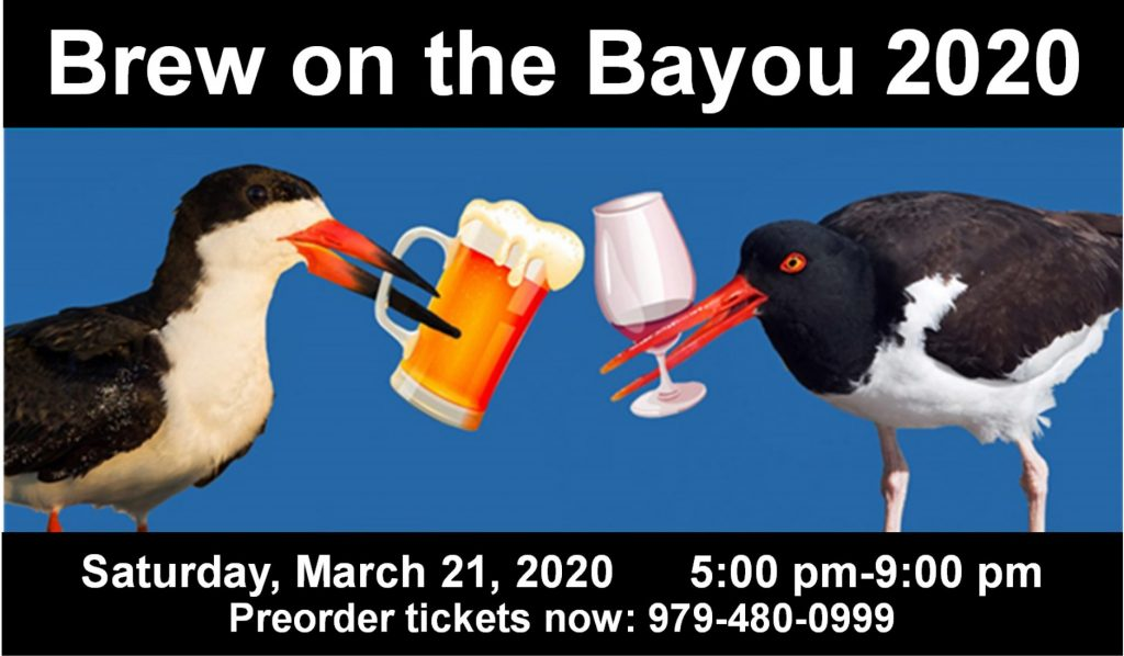 brew on the bayou graphic with two shorebirds holding beer mugs